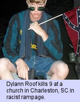 Dylann Roof, Charleston SC, June 2019 - 9 killed at church in racist rampage
